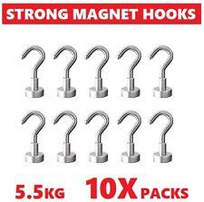 10x Strong RARE Earth Neodymium N38 Magnetic Hanger Holder Magnet Hooks AU 5.5kg