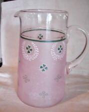 c1900 Blown Art Glass Pitcher Enameled Beaded Shamrocks Wreaths Knots Pink Satin