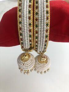Jhumka Jhumki Karaa / Bangles Multi Colour Stones Pearls Design.  Size 2.8