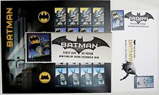 NYCC 2017 BATMAN FIRST DAY ISSUE HAND STAMPED ENVELOPE & SHEET OF POSTAGE STAMP