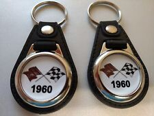 1960 CHEVROLET CORVETTE  BELAIR NOMAD IMPALA  CROSS FLAGS KEYCHAIN 2 PACK