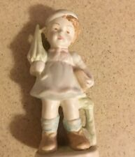 "Vintage Porcelain School Girl FIGURINE 7"" carring booked and umbrella"