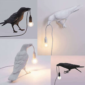 Table Lamps Resin Crow Desk Lamp Bedroom Bird Shape Wall Sconce Light Fixtures
