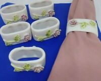 Napkin Rings Ceramic Pink Rose Green leaves Oval Vintage Style