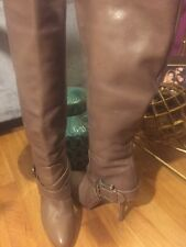 Authentic FENDI Nude/Brown Knee High Boots Sz 38 1/2
