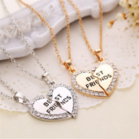 2PCS Best Friend Gold Silver Heart Crystal Necklace Friendship Chain Gift CHIC