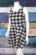 Connection 18 Large L Black Stretch Knit Houndstooth Fit & Flare Skater Dress