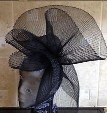 black fascinator millinery burlesque wedding hat hair piece ascot race bridal x