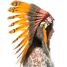 Feather Headdress- Native American Indian Inspired -ADJUSTABLE- Orange Duck