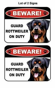 2 Count Beware Guard Rottweiler on Duty (v1) Laminated Dog Sign