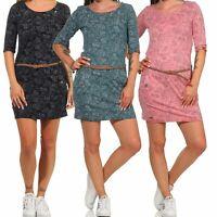 Ragwear Damen Kleid Minikleid Shirtkleid Jerseykleid Blumen Gürtel Tanya Flowers