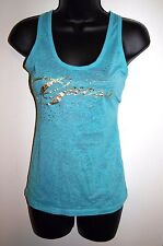 Guess Size XS Womens Racerback Tank Aqua with Gold Lettering