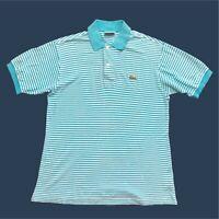 Mens Vintage Lacoste Polo Shirt Medium Blue/White Short Sleeve