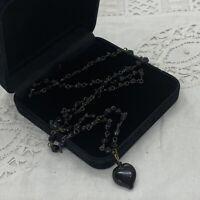 VINTAGE 30s Czech Black Glass Beaded Necklace Heart Pendant Art Nouveau Gothic