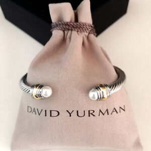 David Yurman Cable Cuff Bracelet 5mm Sterling Silver & 14k Gold Pearl Bangle M