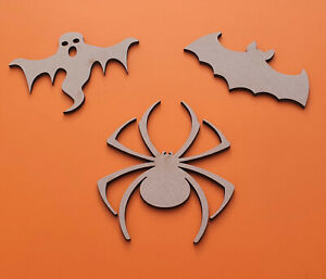 Wooden Halloween Shapes Craft Decoration Spooky Ghost Bat Spider 3mm Thick MDF