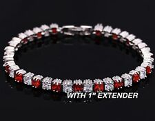 White Gold Finish Created Oval Ruby Red Tennis Bracelet Silver Tone on Brass CZ