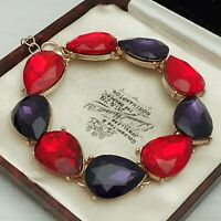 Ruby Red & Purple Peardrop Glass Chaton Goldtone Bracelet