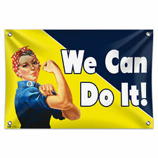 """Rosie the Riveter - We Can Do It 33"""" x 22"""" Mini Vinyl Flag Banner Wall Sign"""