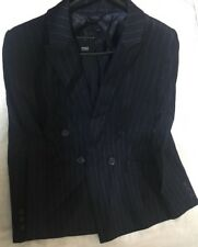 RRP£59 M&S Collection Women's Navy Mix Double Breasted Blazer Sz 10
