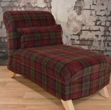 Small Nursery Bedroom Chaise Longue Deep Red Lana Tartan Free Scatter Cushion