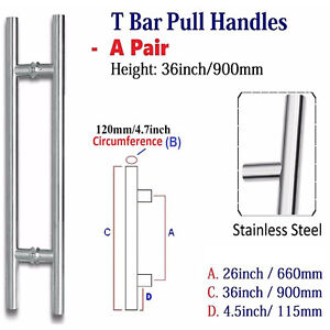"""Pair Of Entrance Large T Bar Door Pull Handles 36""""/ 90cm /900mm stainless steel"""