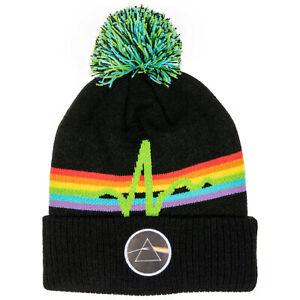 Pink Floyd Cuff Pom Knit Beanie Black