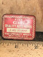 Vintage G & G Specialty Mfg. New York Emergency Auto Fuse tin