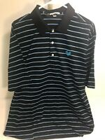 Peter Millar Men's Size 2XL Golf Polo Shirt Black Blue Striped Short Sleeve EUC