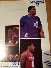 DR J SPALDING Poster VINTAGE 1988 NBA JULIUS ERVING PHILADELPHIA 76ers