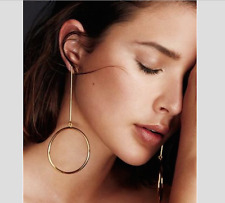 Gold Circle Hoop Geometric Drop Long  Dangle Line Minimalis Cos Style Earrings