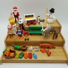 Playmobil Lot Christmas Santa Kids Sleigh Snowman Animals Food Toys Vintage