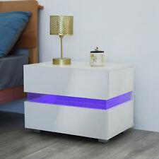 Table de Chevet Table de Nuit 2 Tiroirs avec Éclairage LED Blanc Haute Brillance
