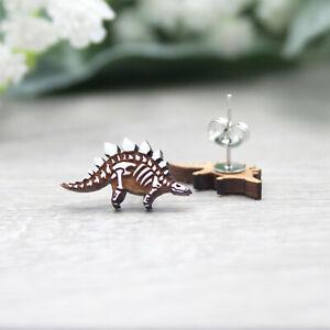 Stegosaurus Skeleton Earrings - Hand Painted Dinosaur Studs