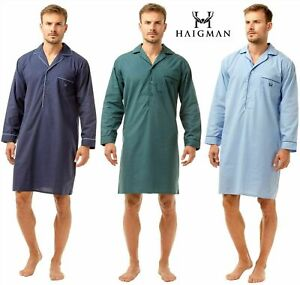 Mens Long Sleeve Nightshirt Nightwear Easy Care Poly Cotton By Haigman [7290]