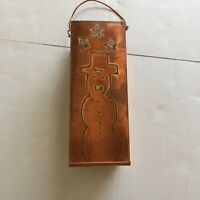 Copper Match Holder ~ Stars and snowman cutouts ~ 9 inches tall