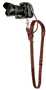Camera Neck Leather Strap Shoulder Sling Adjustable Size SLR/DSLR Brown Harness