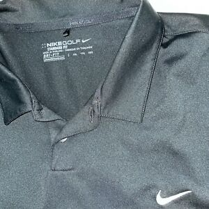 Nike Golf Dri-Fit 2XL BLACK GRAY Standard Fit Men's Athletic Polo Shirt