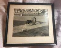 Vintage / Antique  Matador Photograh black & white framed & matted
