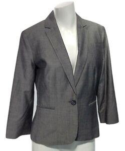 ANN TAYLOR LOFT Women's 2 Pinstripe Fitted Long Sleeve Gray Blazer Jacket NEW!
