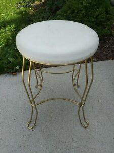 Vintage Mid Century Gold Metal Vanity Chair Stool Vinyl Seat Hollywood Regency