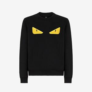 Fendi Bag Bugs Eyes Spikes Sweatshirt - Black and Yellow