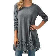 Women's Casual Long Sleeve Lace Trim Hem Hoodie High Low Loose Tunic Tops Blouse