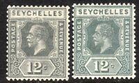 Seychelles 1921 grey 12c Die II grey 12c Die I multi-script CA mint SG107/107a