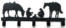 "Metal Cowboy & Horse Coat Hat Rack w/ 5 Hooks Western Country Decor 14x5x1"""