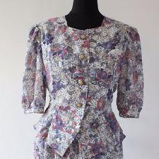 Vintage 1980s PEPLUM Tea Dress 1940s Style WW2 Landgirl FLORAL Day Dress 12 14