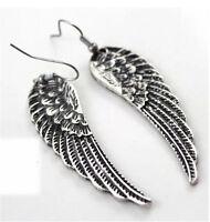 Vintage Angel Wings Tibet Silver Drop Dangle Earrings Retro Womens Jewelry Gift
