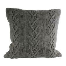 """LUXURY ARAN HAND CABLE KNITTED 100% COTTON SILVER GREY SOFT CUSHION COVER 22"""""""