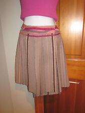 PLISSE STRIPED TEXTURED  SARONG MULTI TONE WOOL/SILK SKIRT MADE IN JAPAN SMALL