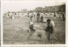 PHOTO ANCIENNE - VINTAGE SNAPSHOT - PLAGE JEU CHÂTEAU DE SABLE AULT ONIVAL 1938